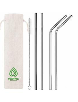 "Vehhe Metal Straws Stainless Steel Straws Drinking Straws Reusable Fda Bpa   10.5"" Ultra Long 4 + 1   W/Cleaning Brush For 20/30 Oz For Yeti Rtic Sic Ozark... by Vehhe"