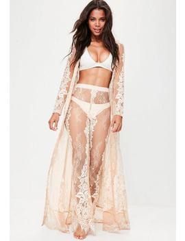 Premium Nude Eyelash Lace Maxi Kimono by Missguided