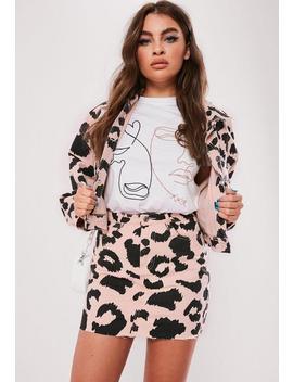 Pink Leopard Print Co Ord Denim Mini Skirt by Missguided