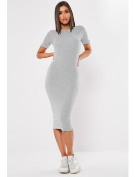 Grey Ribbed Short Sleeve Lettuce Hem Midi Dress by Missguided