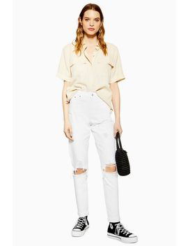 White Destroy Rip Mom Jeans by Topshop