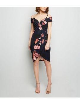 Ax Paris Navy Floral Cold Shoulder Wrap Dress by New Look