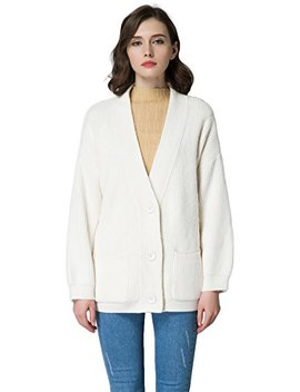 Kubitu Womens Casual V Neck Button Down Chunky Long Sleeves Cardigan Sweater With Pocket by Kubitu