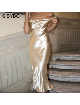 Sibybo Sexy Spaghetti Strap Backless Summer Dress Women Satin Lace Up Trumpet Long Dress Elegant Bodycon Party Dresses Vestidos by Julissa Mo