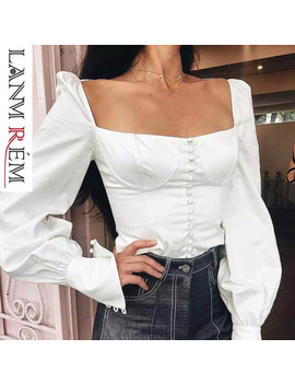 Lanmrem 2019 Women Square Collar Backless Long Lantern Sleeve Lace Up Bow Shirt Fashion Button Spring Summer Sexy Tops Tb114 by Lanmrem