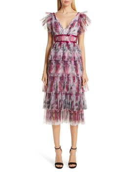 Floral Tiered Midi Cocktail Dress by Marchesa Notte