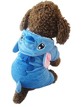 Z Yql Disney Stitch Cartoon Pet Custume Coat, Pet Outfit, Pet Pajamas Clothes Hoodie Coat For Any Party Halloween Christmas by Z Yql