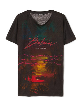 Printed Linen T Shirt by Balmain