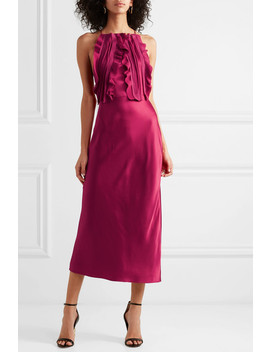 Ruffled Silk Crepon Trimmed Satin Midi Dress by Jason Wu Collection