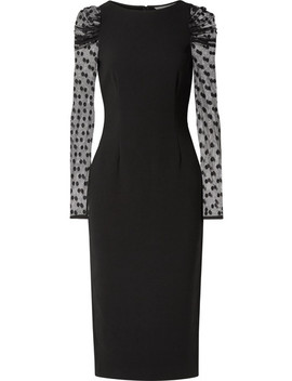 Harper Crepe And Swiss Dot Tulle Midi Dress by Rachel Zoe