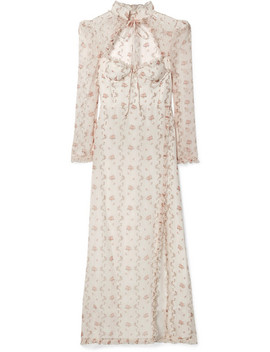 Olivia Ruffled Floral Print Silk Organza Maxi Dress by Brock Collection