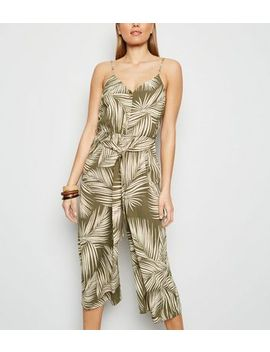 Green Leaf Print Belted Jumpsuit by New Look