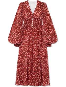 Syros Smocked Printed Silk Chiffon Midi Dress by Caroline Constas