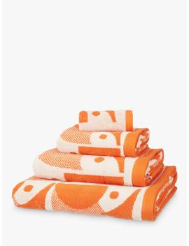 Orla Kiely Owl Towels, Papaya Orange by Orla Kiely