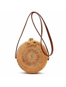 Handwoven Round Rattan Bags Weave Crossboby Straw Bag Top Handle Summer Beach Shoulder Bag by Caissip