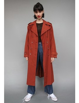 Vintage 90's Brick  Trench Coat Overcoat by Lucky Girl Vintage