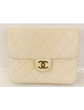 Rk955 Auth Chanel White Quilted Lambskin Cc Push Lock Mini Chain Shoulder Bag by Chanel