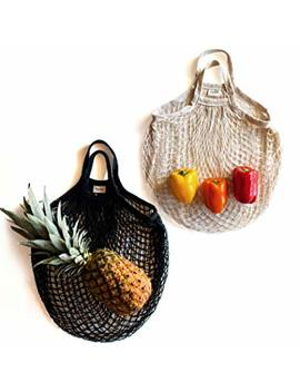 Sugarberry Reusable Grocery Shopping Bags   100 Percents Cotton Net, Foldable, Large, Pack Of 2, Storage Organizer Laundry Market Tote, Fruit Vegetable, Gym Yoga Mat Mesh Bag, (Black, Natural) by Sugarberry