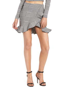 Affection Ruffle Houndstooth Skirt by Lovers + Friends