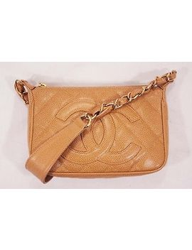 Auth Chanel Caviar Skin Mini Chain Shoulder Bag Beige J1598 by Chanel