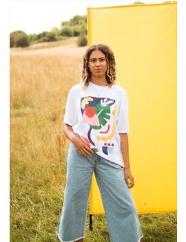 Eco  Printed Organic Tee, With Hand Painted Abstract Art by We Are Hairy People