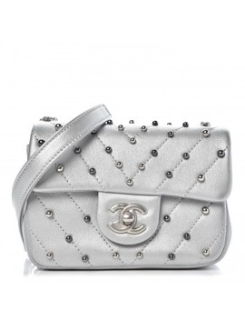 Chanel Metallic Lambskin Chevron Quilted Studded Mini Flap Silver by Chanel