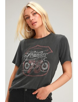Thunder Washed Black Graphic Tee by Lulus