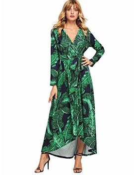 Milumia Women's Button Up Split Floral Print Flowy Party Maxi Dress (Small, Green) by Milumia