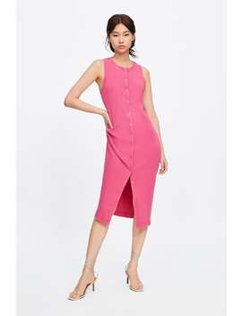 Ribbed Dress With Buttons  Midi Dresses Woman by Zara