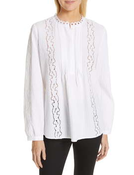Embroidered Pleated Blouse by Nordstrom Signature