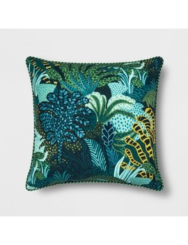 Embroidered Leaf Printed Oversize Square Throw Pillow   Opalhouse by Opalhouse