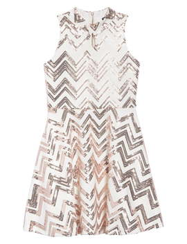 Zigzag Sequin Skater Dress by Ava & Yelly
