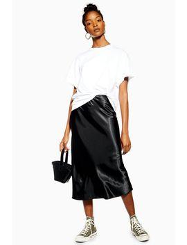 Black Satin Bias Midi Skirt by Topshop