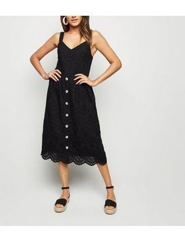 Black Broderie Button Front Midi Dress by New Look