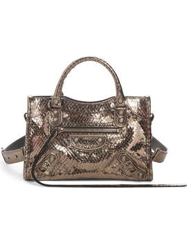 Metallic Mini City Croc Embossed Leather Bag by Balenciaga