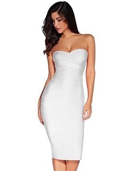 Meilun Women's Knee Strapless Bandage Bodycon Party Dress by Meilun