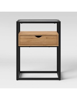 Ada Mixed Material End Table With Glass Top   Project 62 by Project 62