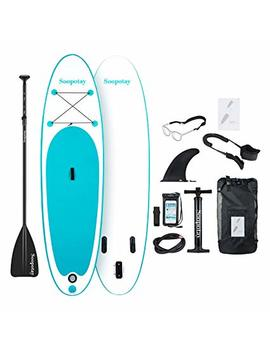 Soopotay Inflatable Stand Up Paddle Board, Inflatable Sup Board, I Sup Board With Accessories, Fins, Backpack, Carry Strap, Coil Leash, Hand Pump   Youth & Adult Paddle Board by Soopotay