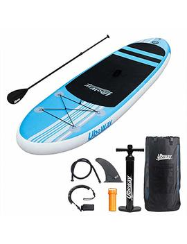 Uboway Inflatable Stand Up Paddle Board 6'' Thick With Adjustable Paddle, Backpack, Pump, Elastic Rope, Fin, Repair Kit 10' Long 30'' Wide by Uboway
