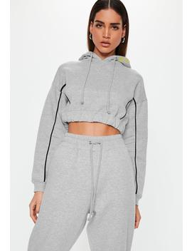 Grey Piping Detail Cropped Hoodie by Missguided