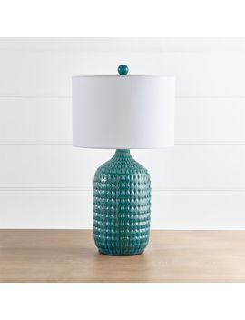 Liana Teal Textured Table Lamp by Crate&Barrel