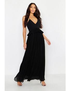 Woven Pleated Frill Maxi Dress by Boohoo