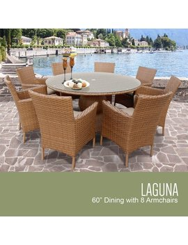 Laguna 60 Inch Outdoor Patio Dining Table With 8 Chairs W/ Arms by Tk Classics
