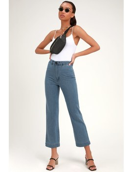Slim Sailor Light Blue High Waisted Cropped Jeans by Rolla's