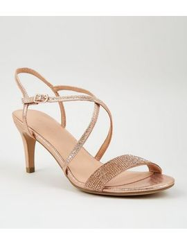Rose Gold Shimmer Diamanté Strap Sandals by New Look