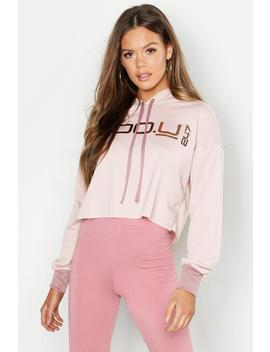 Boo U 247 Crop Hoodie With Contrast Cuff & Drawcord by Boohoo