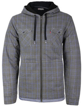 Levi's Men's Sherpa Lined Long Sleeve Flannel Zip Fleece Hoodie Sweater Jacket by Levi's