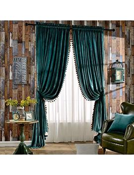 Melodieux Luxury Pom Poms Velvet Curtains For Bedroom Living Room Thermal Insulated Rod Pocket Drapes, 52x84 Inch, Antique Green (1 Pair) by Melodieux
