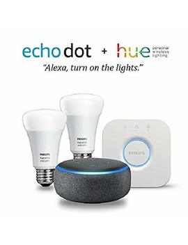 Echo Dot (3rd Gen)   Charcoal With Philips Hue White And Color Smart Light Bulb Starter Kit by Philips Hue