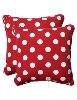 "2 Piece Outdoor Toss Pillow Set   Red/White Polka Dot 18"" by Piece Outdoor Toss Pillow Set"